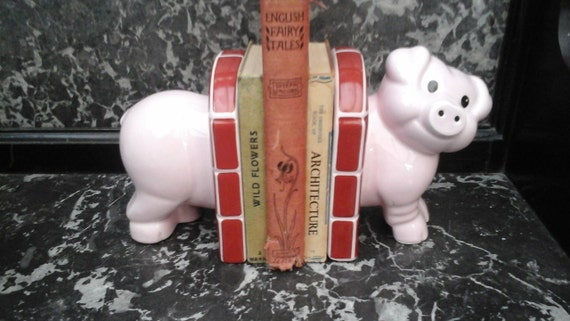 PIG BOOK ENDS - 1960's - Carltonware - English china - Children's bedroom - Toys - Animal - vintage gifts