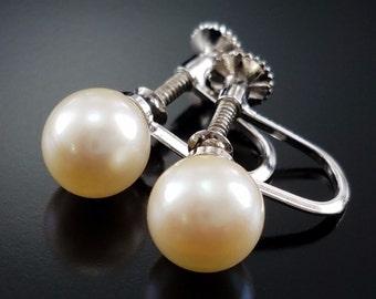 Vintage Pearl Earrings Genuine Screw Post Estate Jewelry
