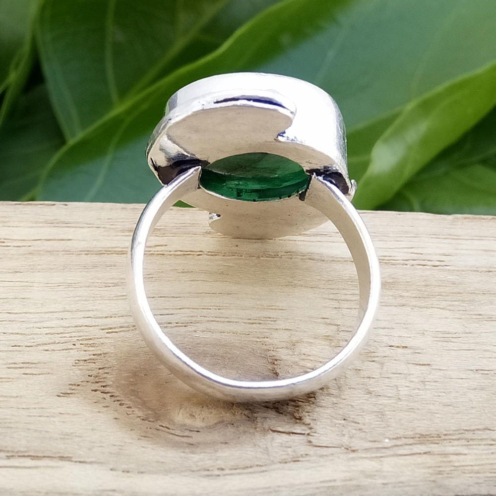 Round Emerald Ring Handcrafted Ring Wedding Gift Ring