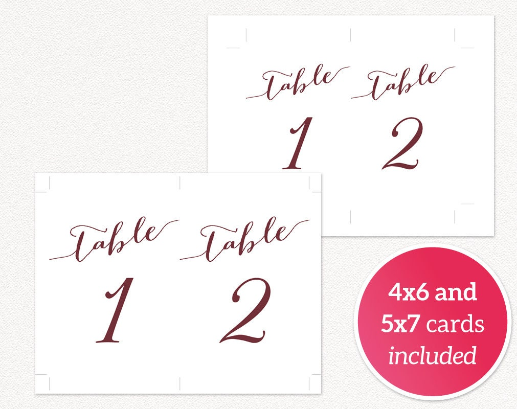 1 50 table numbers printable template in two sizes wedding table