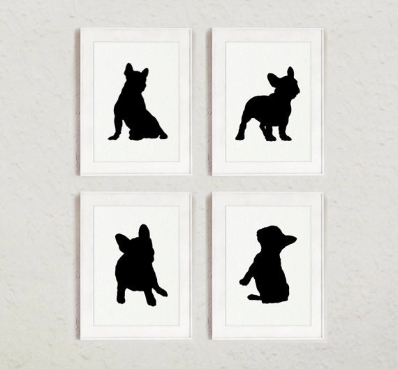 French Bulldog Silhouettes Set Of 4 Frenchie Sign Wall Art