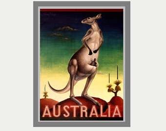 Australia Decal - Kangaroo Decal - Kangaroo Baby Decal - Vintage Travel Style Decal - Australia Car Decal - Australia Laptop Decal - S64
