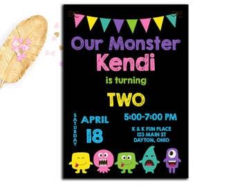 Monster Invitation, Girl Monster Birthday Invitation, Monster Invite, First Birthday, Second Birthday,