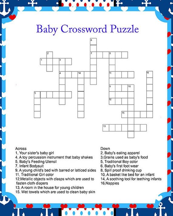 crossword puzzle baby shower game digital baby shower game