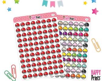 H 149) -- Pokeball Planner Stickers, Pokemon go stickers