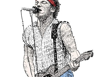Bruce Springsteen - Springsteen Poster - Springsteen Art - Music Wall Art - Music Decor - Springsteen Lyrics - Born To Run - Home Decor