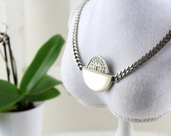 Vintage necklace 70s vintage chains closure women necklace Wedding Necklace Statement Necklace Mid Century