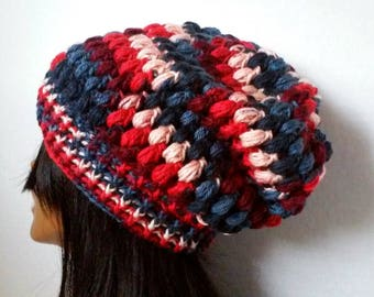 Puff Stitch Hat, Puff Stitch,Beanie,Red White and Blue Beanie,Slouchy Beanie,Team Beanie, Winter Hat, Womens Teens Beanie
