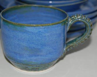 Soup mug SET. Handmade blue pottery soup mugs.