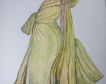 Elegant Yellow Dress - Art Print