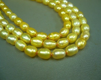 """Gold Rice Freshwater Pearls 8"""" Strand"""