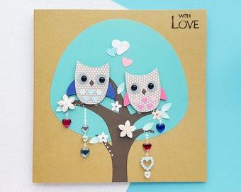Handmade Owls Card | Personalised Anniversary Card | Cute Anniversary Card, Romantic Cards | Girlfriend Anniversary, Boyfriend Anniversary