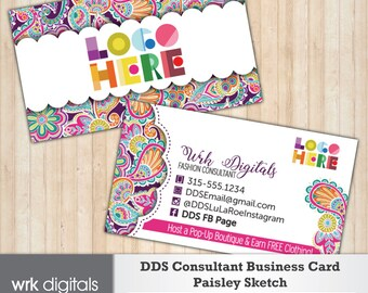 Dot Dot Smile Business Card, Paisley Sketch Design, Customized Business Card, Direct Sales, Fashion Consultant
