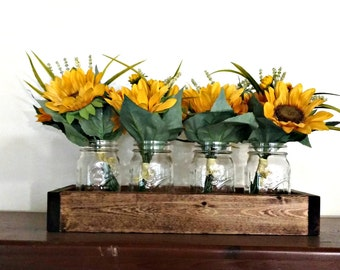 Wood Box Mason Jar Decor Wooden Tray Mason Jar Flower Vase Rustic Home Decor