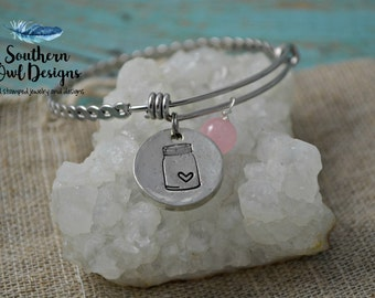 mason jar bracelet, mason jar bangle bracelet, mason jar charm bracelet, gift for her, hand cast pewter, gemstone bracelet