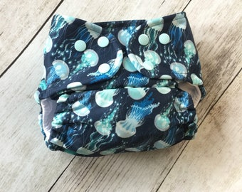 Cloth Diaper *One size or Newborn* All in two, Pocket, or Cover **Jellyfish**