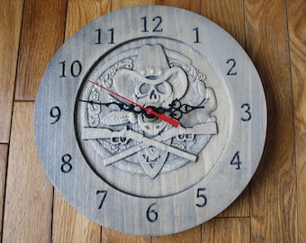 Pine Clock Hand Made Cowboy Skull Rifle CNC Carved Hand Finished Nova Scotia Fathers Day Gift