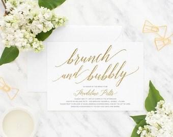 Bridal Shower Invitation, Invitation, Printable Invitation, Brunch and Bubbly, Wedding Shower, Bridal Shower Invite, Gold Bridal Shower