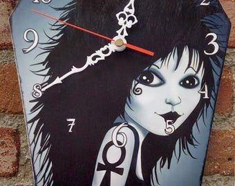 Wooden wall coffin-clock -Death (Sandman comic). Handmade wall clock. Coffin shaped. Gothic decoration. Comic clock