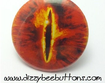 """Lord of the Rings Eye of Sauron - 1.25"""" or 1.5"""" - Pinback Button - Magnet - Keychain"""