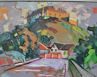 "Original oil painting Ukraine modern art by Vitaly Panasiuk ""Evening over the fortress"" 60x42 cm oil on canvas 2015 Ukraine"