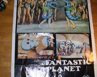 """1973 Original Fantastic Planet Movie Theater Poster 27x41"""" Creased with Paint Spot"""