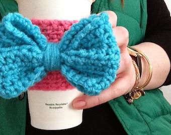 Bow Crochet Coffee Cozy