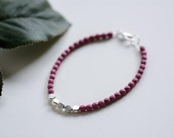 Purple and Silver Disc Bracelet