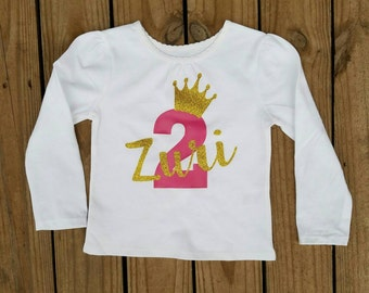 Second Birthday Outfit Girls, Girl 2 Year Old Birthday Outfit, 2 Year Old Birthday Shirt, Personalized Girl Birthday Shirt, Birthday Outfit