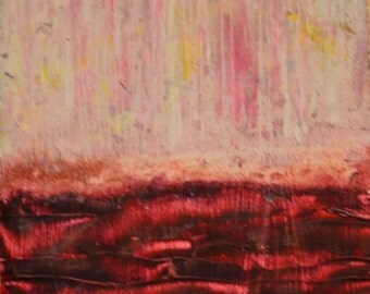 Earth (Set of 2 Abstract Art Pieces) Beeswax, dry pigments oil painting on a gallery style wooden panel ready for display
