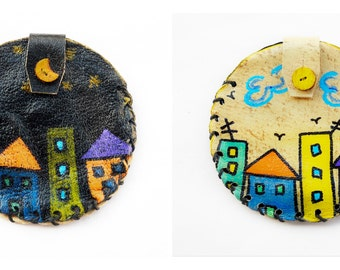 Unique Leather Wallet - Daylight - Nightlight - City - Black and white - Mini - Ooak - Painted - Houses - Key holder - Gifts