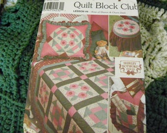 Sewing Pattern - Simplicity 9312 Quilt Block Club Lesson #4 Rose Of Sharon And Churn Dash - Pillow Sham, Quilt, Bed Caddy, Footstool Cover