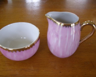 Beautiful Pink & Gold Creamer Sugar made in Japan