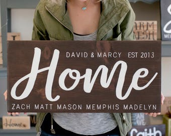 Wedding Gift Ideas Blended Family : wedding gift for blended family name wood sign custom wedding gift ...
