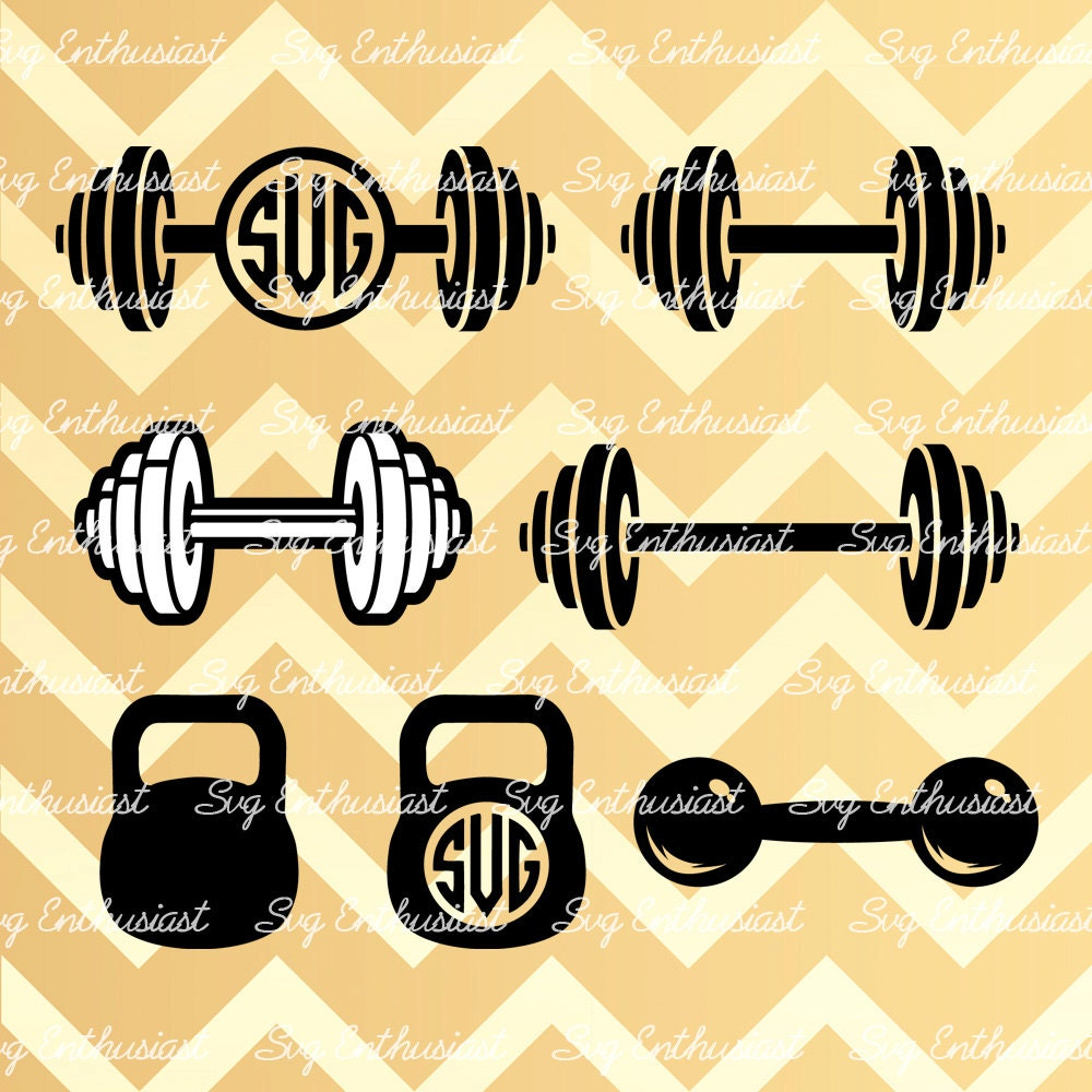 Crossfit Weights Svg Barbell Svg Kettlebell Monogram Svg