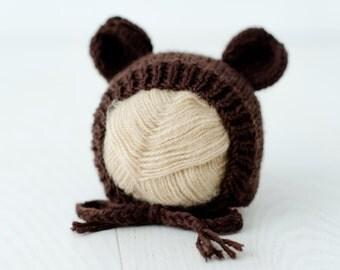 Newborn bear Beanie, beanie bears, newborn baby, 0-3 months, 9-12 months, Brown sitting bear crush photo