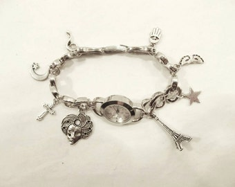 New age jewelry charm bracelet bangle customised watch: Handmade Ornate woman's charm bracelet watch antique silver plated alloy FREE P&P UK
