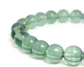 8mm Green Fluorite Beaded Bracelet