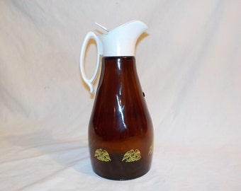 Log Cabin Syrup Pitcher, 1970's, Decanter, Brown Glass with Eagle and Shield Design