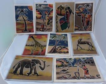Set of 9 Vintage West African Sand Paintings