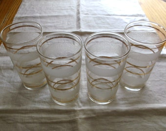 Vintage Barware Drinking Glasses Clear with Frosted Stripes and Gold Stripes