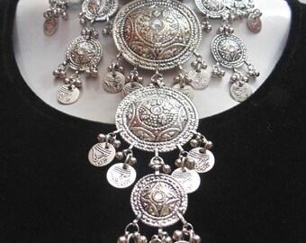 ethnic Indian oxidized bellydance banjara Long Coin necklace tribal kuchi gypsy boho