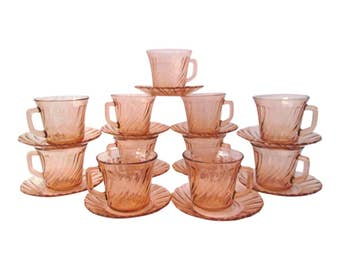French Pink Cups & Saucers, Srvc. for 11