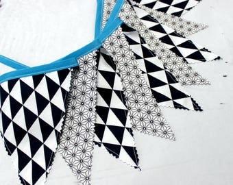 Bunting 9 Flags Fabric Banner, Fabric Garland, Navy, White, Baby Shower, Scandinavian, Nursery Wall decor, Scandinavian modern