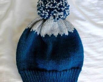 THE VOYAGEUR HAT | Pom Pom Hat | Slouchy Beanie Hat | Handknit Hat | Beanie Pom Pom Hat | Fair Isle Knit Hat | Warm Winter Hat