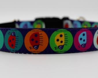 Cute and Colourful Ladybug Dog Collar, Large Dog Collar, Girl Dog Collar, Feminine Dog Collar, Wedding Dog Collar, Custom Dog Collar