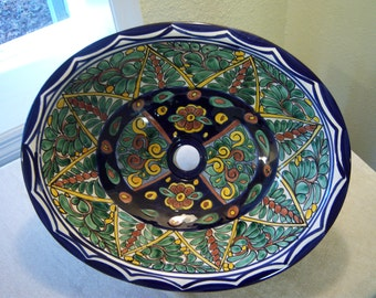 Hand painted Mexican oval sink/OOAK Talavera ceramic sink/Made in Mexico/Drop in sink/Cobalt blue,green,gold,tan,white/Bathroom decor