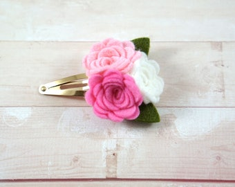 Pink and White. Rose Clip. Pink Flower Clip. Flower Hair Clip. Easter Bow. Toddler Barrette. Baby Barrette. Flower Barrette. Rose Hair Clip.