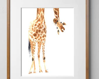 PRINTABLE PRINT Giraffe Ar Watercolor  print, Safari Art, Giraffe Print, Wall Art, Home Decor, Animal Art, Giraffe, Nursery Art