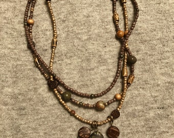 Jasper bead 3-strand necklace